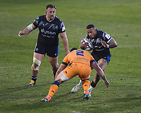 Rugby Union - 2020 / 2021  European Rugby Challenge Cup - Semi-final - Bath vs Montpellier - Recreation Ground<br /> <br /> Bath Rugby's Anthony Watson is tackled by Montpellier's Guilhem Guirado.<br /> <br /> COLORSPORT/ASHLEY WESTERN