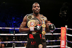 Lawrence Okolie celebrates winning the WBA continental cruiserweight championship at The O2 Arena, London.