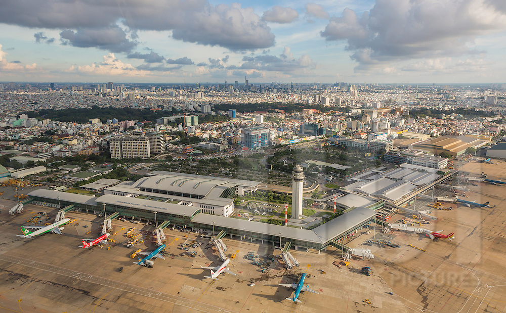 Aerial view of Tan Son Nhat International Airport in Ho Chi Minh City Vietnam, Southeast Asia