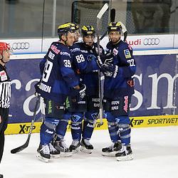 Torjubel zm 3:0 durch 88 Brandon McMillan (Spieler ERC Ingolstadt)<br /> auf dem Bild 88 Brandon McMillan (Spieler ERC Ingolstadt), 39 Thomas Greilinger (Spieler ERC Ingolstadt), 22 Brain Salcido (Spieler ERC Ingolstadt) beim Spiel in der DEL, ERC Ingolstadt (blau) - Nuenrberg Ice Tigers (weiss).<br /> <br /> Foto © PIX-Sportfotos *** Foto ist honorarpflichtig! *** Auf Anfrage in hoeherer Qualitaet/Aufloesung. Belegexemplar erbeten. Veroeffentlichung ausschliesslich fuer journalistisch-publizistische Zwecke. For editorial use only.