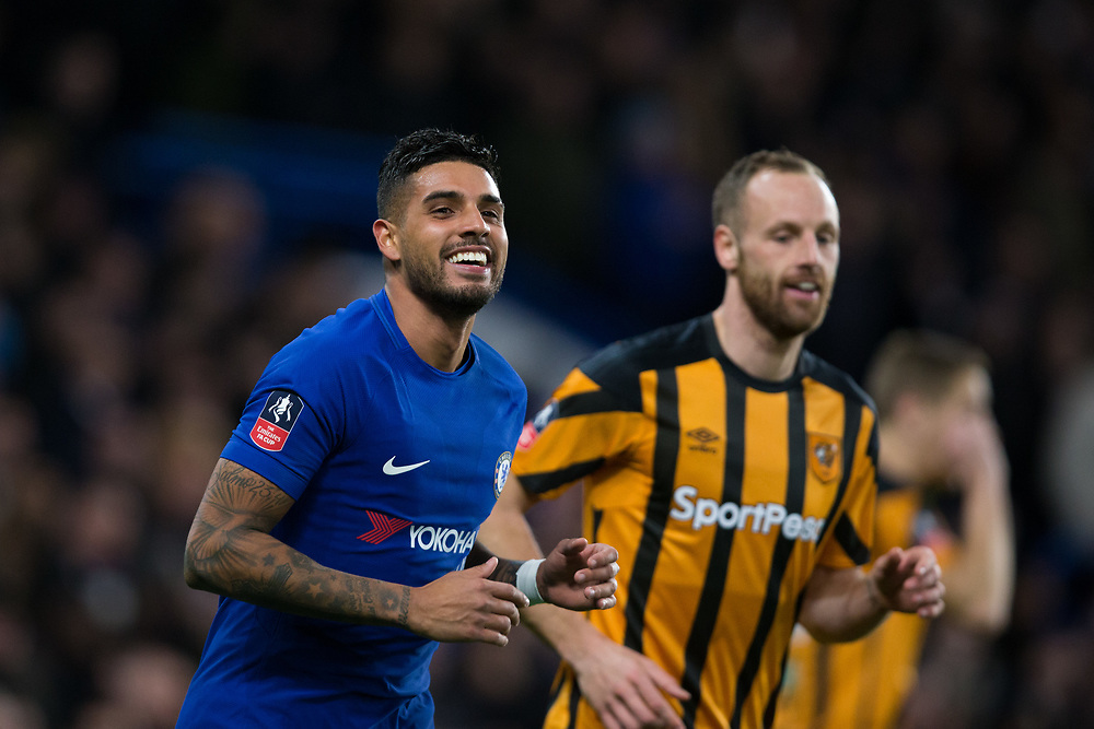 Chelsea's Emerson reacts <br /> <br /> Photographer Craig Mercer/CameraSport<br /> <br /> Emirates FA Cup Fifth Round - Chelsea v Hull City - Friday 16th February 2018 - Stamford Bridge - London<br />  <br /> World Copyright © 2018 CameraSport. All rights reserved. 43 Linden Ave. Countesthorpe. Leicester. England. LE8 5PG - Tel: +44 (0) 116 277 4147 - admin@camerasport.com - www.camerasport.com
