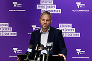 Victorian Chief Health Officer, Brett Sutton speaks to the media during a press conference in Melbourne, Australia. Victorian Premier Daniel Andrews has announced a 'State of Disaster' and increased restrictions for Victoria. The Premier announced that 671 new cases of COVID were detected, 73 connected to outbreaks, 598 under investigation and seven people died overnight. Stage 3 restrictions will be reintroduced to regional Victoria while Metropolitan Melbourne will now be in Stage 4. An 8pm to 5am curfew will be introduced starting today. (Photo by Dave Hewison/ Speed Media)