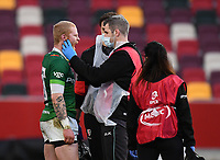 Rugby Union - 2020 / 2021 European Rugby Challenge Cup - London Irish vs Pau - Brentford Community Stadium<br /> <br /> London Irish's Tom Homer receiving medical attention during the game before going off injured.<br /> <br /> COLORSPORT/ASHLEY WESTERN