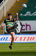 Northampton Saints full-back George Furbank kicks the ball during a Gallagher Premiership Round 13 Rugby Union match, Saturday, Mar. 13, 2021, in Northampton, United Kingdom. (Steve Flynn/Image of Sport)