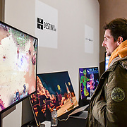 Games in Italy exhibition at London Games Festival 2019: HUB at Somerset House at Strand, London, UK. on 2nd April 2019.