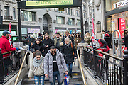 Very few commuters are picking up their free copy of the Evening Standard, Oxford Circus.  London, 5 February 2019