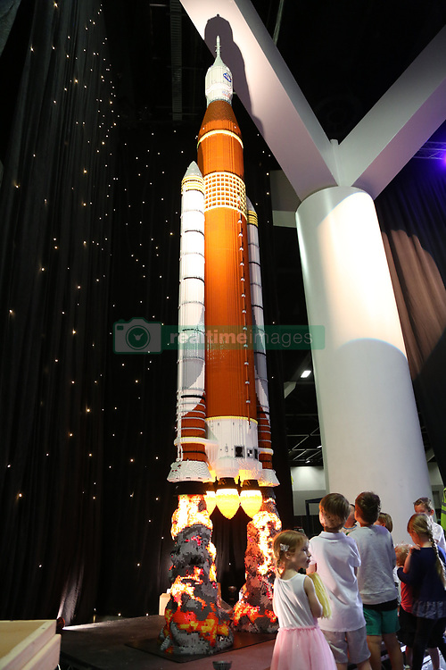 Ryan 'The Brickman' McNaught unveiled his never-seen-before, tallest LEGO model in the Southern Hemisphere - a NASA SLS rocket, which stands at a whopping 7.5 metres tall, ahead of the opening of Brickman Awesome on Boxing Day at the ICC Sydney, Convention and Exhibition Centre. Brickman Awesome will be made up of 38 never-seen-before LEGO models, totalling more than 1.5 million bricks and clocking up more than 4,500 hours of build-time! Brickman Awesome will showcase the only life-sized LEGO Harley Davidson ever made and the largest ever LEGO Caterpillar 797 dump truck! Adding to the awesome-ness is a full-sized LEGO Australian saltwater crocodile, weighing over 60kgs and built using more than 40,000 LEGO bricks. Ryan 'The Brickman' McNaught is the only LEGO Certified Professional in the Southern Hemisphere and one of only 14 in the world. 21 Dec 2017 Pictured: NASA SLS rocket, which stands 7.5 metres tall and is the tallest LEGO model in the Southern Hemisphere. Photo credit: Richard Milnes / MEGA TheMegaAgency.com +1 888 505 6342