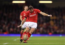 Wales' Dan Biggar takes a penalty kick
