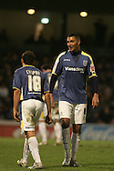 Michael Chopra of Cardiff City and Jay Bothroyd (r). Coca Cola championship, Cardiff City v Sheffield Wednesday at Ninian Park, Cardiff on Sat 20th Dec 2008. pic by Andrew Orchard, Andrew Orchard sports photography,