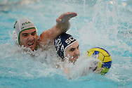 The Commonwealth Water Polo Championships 2014, Aberdeen Sports Village Aquatics Centre 12 April 2014<br /> Mens Bronze Medal Match<br /> South Africa v Scotland<br /> Alasdair Campbell of Sco and Lood Rabbie of SA<br /> <br /> Picture -  Neil  Hanna  - mobile 07702246823