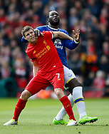James Milner of Liverpool in acton with Romelu Lukaku of Everton during the English Premier League match at Anfield Stadium, Liverpool. Picture date: April 1st 2017. Pic credit should read: Simon Bellis/Sportimage