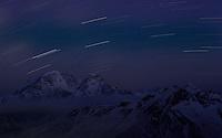 Russia, Caucasus. Star trails over Mount Donguzorun (4448 m asl)