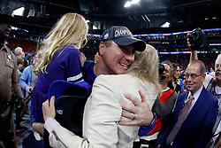 Florida Gators head coach Dan Mullen celebrates winning the Chick-fil-A Peach Bowl, Saturday, December 29, 2018, in Atlanta. ( Paul Abell via Abell Images for Chick-fil-A Peach Bowl)