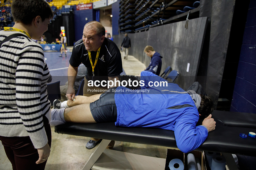 2018 January 02: Matt Finesilver of Duke Blue Devils wrestling on Tuesday, January, 2, 2018 during the Southern Scuffle at McKenzie Arena in Chattanooga, TN.
