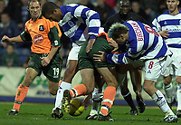 Picture: Raymond Field<br /><br />Queens Park Rangers v Plymouth Argyle nationwide league division two<br /><br />15/11/2003<br /><br />Graham Coughlan and Jason Bent make sure that Tony Thorpe will not get through there defence.