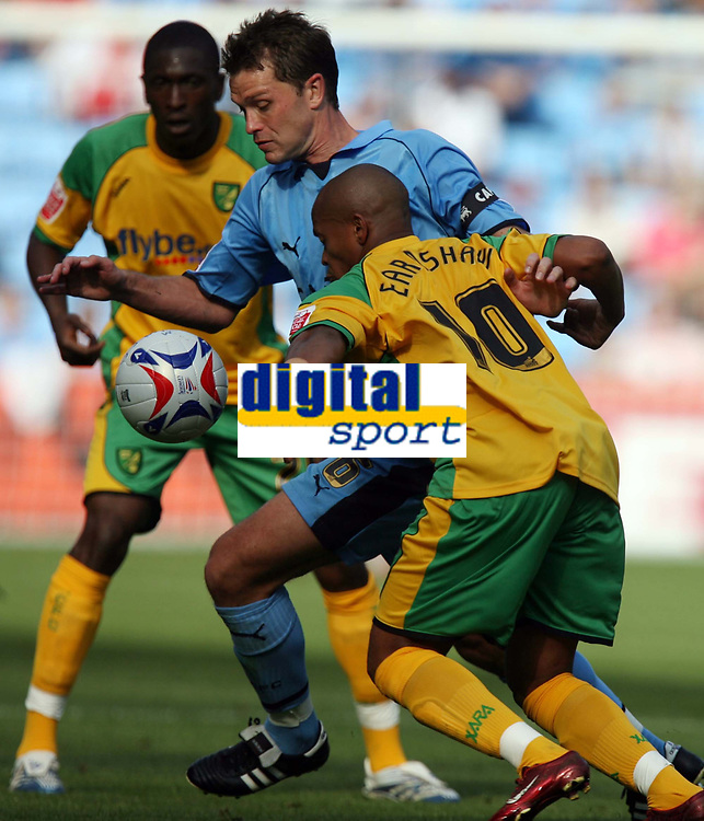Photo: Rich Eaton.<br /> <br /> Coventry City v Norwich City. Coca Cola Championship. 09/09/2006. Coventry captain Stephen Hughes keeps the ball away from Norwichs Robert Earnshaw
