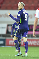 Simon Makienok of Charlton Athletic signals to the rotherham fans after scoring during the Sky Bet Championship match between Rotherham United and Charlton Athletic at the New York Stadium, Rotherham, England on 30 January 2016. Photo by Ian Lyall.