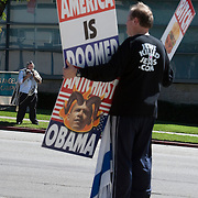 Members of the Westboro Baptist Church demonstrate in Los Angeles. Picketing Yeshiva University High School for boys, a jewish school