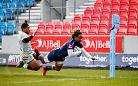 Rugby Union - 2020 / 2021 Gallagher Premiership - Sale Sharks vs Wasps - AJ Bell Stadium<br /> <br /> Marland Yarde of Sale Sharks scores a try at AJ Bell Stadium <br /> <br /> COLORSPORT/LYNNE CAMERON