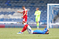 Football - 2020 / 2021 Sky Bet League One - Portsmouth vs. Accrington Stanley - Fratton Park<br /> <br /> A dejected Portsmouth's Ronan Curtis lies on the floor after the final whistle as Portsmouth miss out on a play off place at Fratton Park <br /> <br /> COLORSPORT/SHAUN BOGGUST