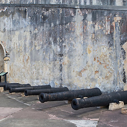 Canons inside Fort San Cristobal in San Juan, Puerto Rico.