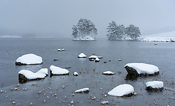 Loch Ossian, Scotland, UK. 28 January, 2020. View of snow covered landscape of Loch Ossian in Highland Region. Snow fell continuously to a depth of 8 inches in the area on Tuesday. Iain Masterton/ Alamy Live News