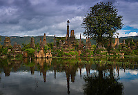 INLE LAKE, MYANMAR - CIRCA DECEMBER 2013: Stupa ruins in Sankar village (or Samka ). A small village located in the south of Inle Lake.