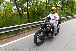 Artist Jeff Durrant riding his 1942 Harley-Davidson WLC bobber in the Cross Country Chase motorcycle endurance run from Sault Sainte Marie, MI to Key West, FL (for vintage bikes from 1930-1948). Stage 5 had riders cover 213 miles from Bowling Green, KY to Chatanooga, TN USA. Tuesday, September 10, 2019. Photography ©2019 Michael Lichter.