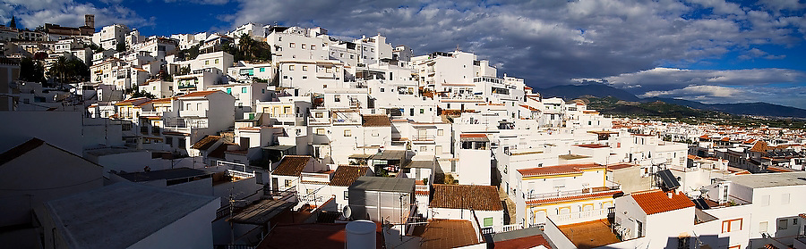 Rooftop view over the whitewash buildings of the historic old town of Salobrena on the Mediterranean coast, Andalusia, Spain.