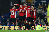 Zlatan Ibrahimovic of Manchester United (c) celebrates with his teammates after he scores his teams 1st goal.  Premier league match, Everton v Manchester United at Goodison Park in Liverpool, Merseyside on Sunday 4th December 2016.<br /> pic by Chris Stading, Andrew Orchard sports photography.