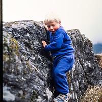 Ben Wiltsie climbs rocks in the Khumbu region of Nepal 1986.