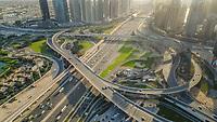Aerial view of the Traffic in Dubai, United Arab Emirates.