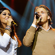 NLD/Amsterdam/20121117 - Danny de Munk 30 jaar in het vak, Roxeanne Hazes met broer Dre Hazes