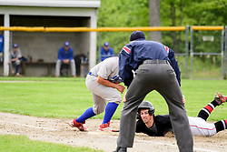 Belmont senior Corey Desrosier makes it safely back to first  during a quarter final game against Mascenic at Belmont High School on Saturday, June 3, 2017.  (Alan MacRae for the Laconia Daily Sun)