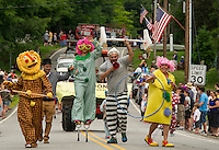 Lindon Garlic Farm's float and marchers have some fun with the crowd during the Gilmanton 4th of July parade on Saturday morning.  (Karen Bobotas/for the Laconia Daily Sun)