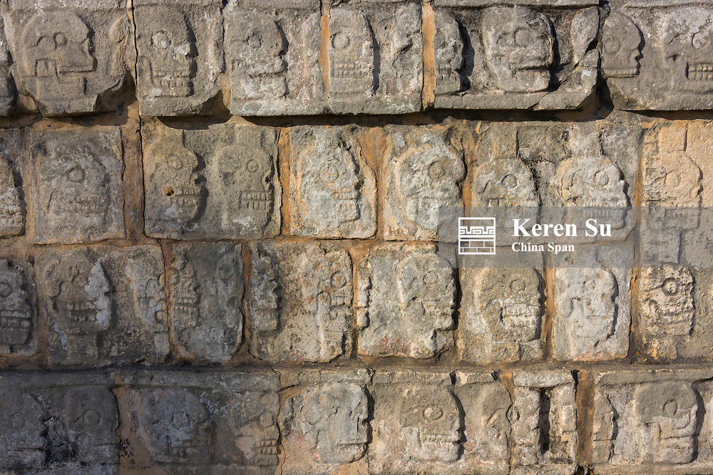 Close up of stone carving in Chichen Itza, Yucatan, Mexico