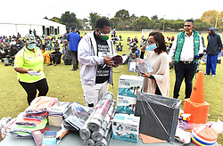 South Africa - Pretoria - 27 April 2020 - Acting MEC for Social Development, Panyaza Lesufi and Gauteng MEC for Sports, Arts, Culture and Recreation Mbali Hlophe visit a shelter for the homeless in Lyttelton to deliver books and exercise equipment.<br /> <br /> Picture: Thobile Mathonsi/African News Agency(ANA)