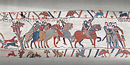 Bayeux Tapestry scene 8 : Guy de Ponthieu, holding falcon, escorts his prisoner, Harold, to Beaurain. .<br /> <br /> If you prefer you can also buy from our ALAMY PHOTO LIBRARY  Collection visit : https://www.alamy.com/portfolio/paul-williams-funkystock/bayeux-tapestry-medieval-art.html  if you know the scene number you want enter BXY followed bt the scene no into the SEARCH WITHIN GALLERY box  i.e BYX 22 for scene 22)<br /> <br />  Visit our MEDIEVAL ART PHOTO COLLECTIONS for more   photos  to download or buy as prints https://funkystock.photoshelter.com/gallery-collection/Medieval-Middle-Ages-Art-Artefacts-Antiquities-Pictures-Images-of/C0000YpKXiAHnG2k