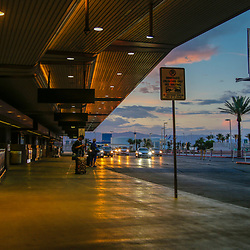 People and places of  Las Vesgas Strip and Airport scenes from McCarran International Airport, <br /> passenger drop off.