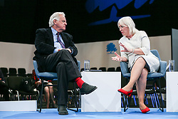 © Licensed to London News Pictures. 05/10/2021. Manchester, UK.  Secretary of State for Digital, Culture, Media and Sport Nadine Dorries hosts a panel with former BBC Chairman Lord Grade, Caroline Norbury of the Creative Industries Federation, Andrew Smith of Pinewood Studios and Tim Richards of VUE Cinemas to discuss the UK's film industry.  Photo credit: Adam Vaughan/LNP