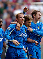 Photo. Jed Wee.<br /> Wigan Athletic v West Ham United, Nationwide League Division One, 09/05/2004.<br /> Wigan's Neil Roberts (L) celebrates his goal.