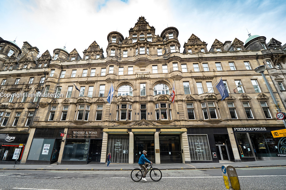 Hilton Carlton Hotel in Edinburgh where possible first cases of coronavirus in Scotland were detected at a Nike conference held there, Scotland, UK