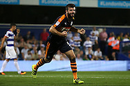 GOAL / CELE - Grant Hanley of Newcastle United celebrates after scoring his sides sixth goal to make it 0-6.  EFL Skybet football league championship match, Queens Park Rangers v Newcastle Utd at Loftus Road Stadium in London on Tuesday 13th September 2016.<br /> pic by John Patrick Fletcher, Andrew Orchard sports photography.