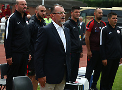 May 31, 2018 - London, United Kingdom - Mustafa Boratas Head Coach of Northern Cyprus.during Conifa Paddy Power World Football Cup 2018  Group B match between Northern Cyprus against Karpatalya at Queen Elizabeth II Stadium (Enfield Town FC), London, on 31 May 2018  (Credit Image: © Kieran Galvin/NurPhoto via ZUMA Press)