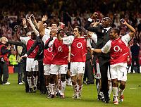Photo. Richard Lane<br />Arsenal v Southampton. FA Cup Final. 17/05/2003.<br />The Arsenal team celebrate doing the conga