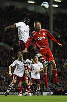 Photo: Paul Thomas.<br /> Liverpool v Arsenal. The FA Barclays Premiership. 28/10/2007.<br /> <br /> Peter Crouch of Liverpool battles Kolo Toure (L).