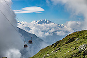Bettmerhorn cable car, Bettmeralp, Switzerland, Europe. The Swiss Alps Jungfrau-Aletsch region is honored as a UNESCO World Heritage Site.