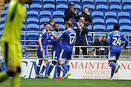 Cardiff City's Junior Hoilett © celebrates with his team mates after scoring his teams 2nd goal to make it 2-0.  EFL Skybet championship match, Cardiff city v Rotherham Utd at the Cardiff city stadium in Cardiff, South Wales on Saturday 18th February 2017.<br /> pic by Carl Robertson, Andrew Orchard sports photography.