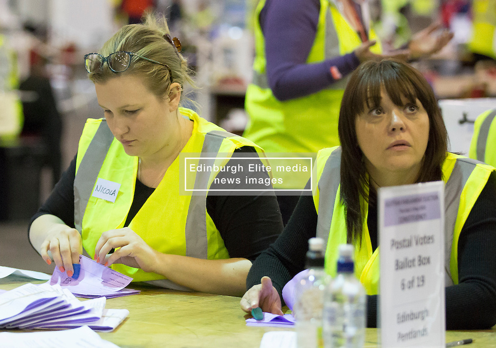 Scottish Parliament Election 2016 Royal Highland Centre Ingliston Edinburgh 05 May 2016; the postal ballot boxes are opened and counting begins during the Scottish Parliament Election 2016, Royal Highland Centre, Ingliston Edinburgh.<br /> <br /> (c) Chris McCluskie   Edinburgh Elite media