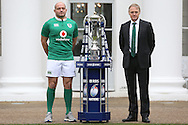 Rory Best, the Ireland captain and Joe Schmidt, the Ireland head coach pose with the Six Nations Trophy. RBS Six Nations 2017 media launch at the Hurlingham Club, Ranelagh Gardens in London on Wednesday 25th January 2017.<br /> pic by John Patrick Fletcher, Andrew Orchard sports photography.